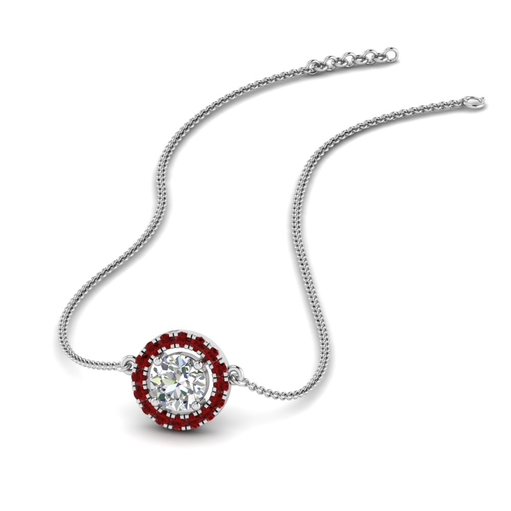 0.50 ct. diamond halo pendant necklace with ruby in FDPD8963GRUDR NL WG