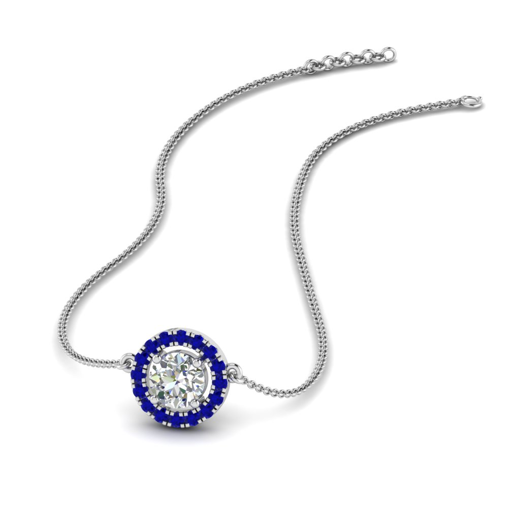 0.50 ct. diamond halo pendant necklace with sapphire in FDPD8963GSABL NL WG