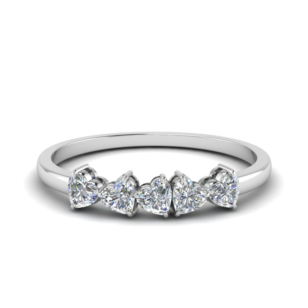 Diamond Heart 5 Stone Anniversary Ring