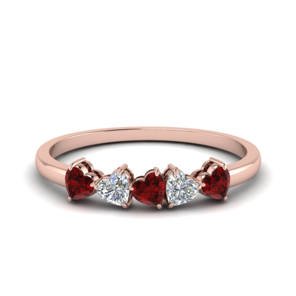 Heart 5 Stone Band With Ruby