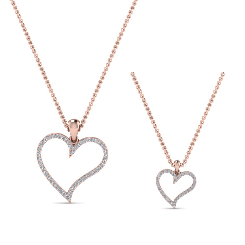 Heart Necklace For Mom Daughter