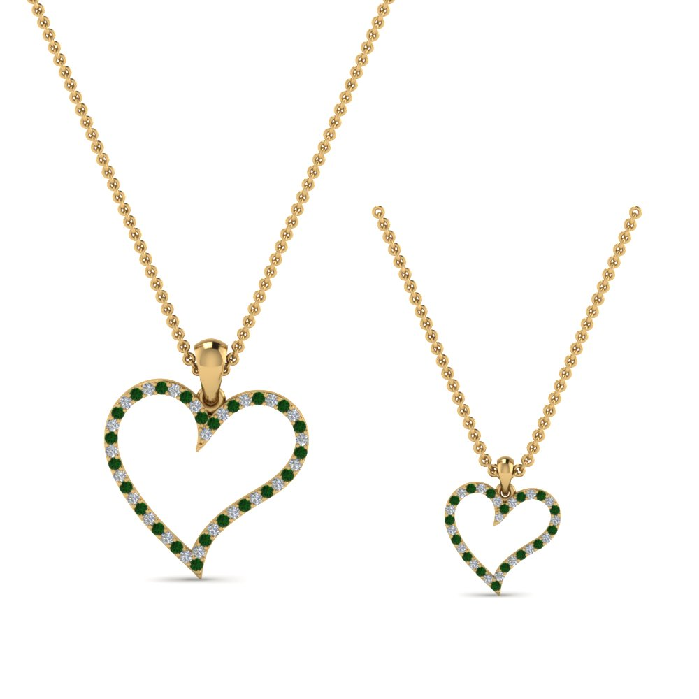 diamond-heart-necklace-for-mom-daughter-with-emerald-in-FDPD9066MD-K-GEMGRANGLE2-NL-YG