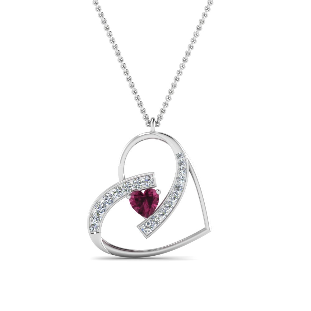 Diamond Heart Colored Necklace Pendant