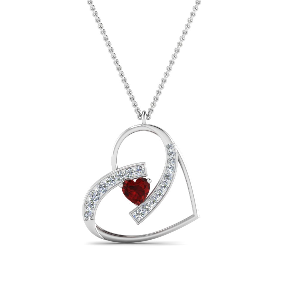white ruby pendant qp heart gold ct in necklace