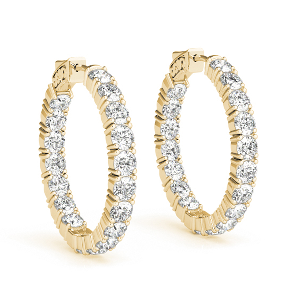 Round Diamond Earring 14K Yellow Gold