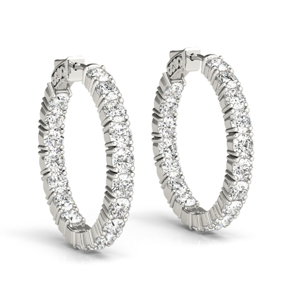 Platinum Basket Diamond Hoop Earring