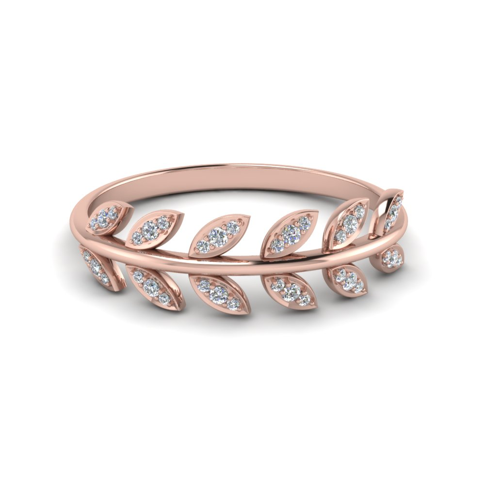 diamond leaf nature inspired wedding band in 14K rose gold FD123035 NL RG