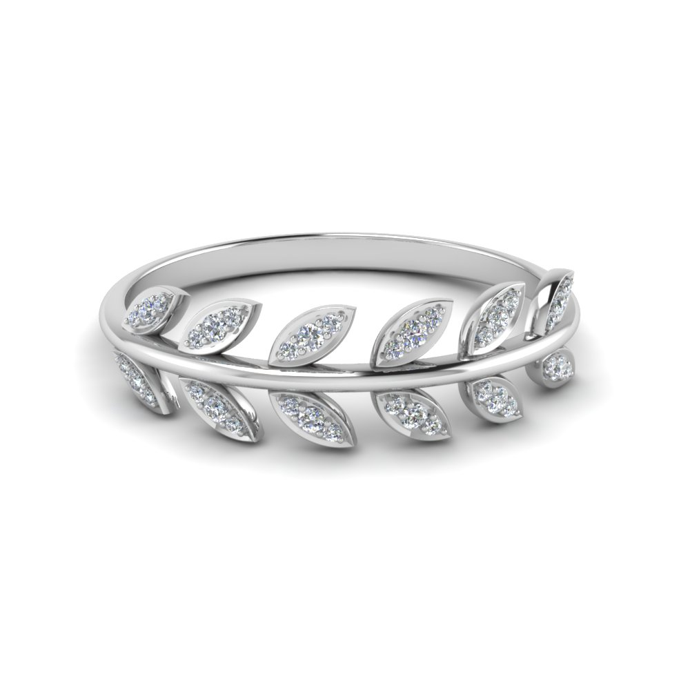 Diamond Leaf Nature Inspired Wedding Band In 14K White Gold