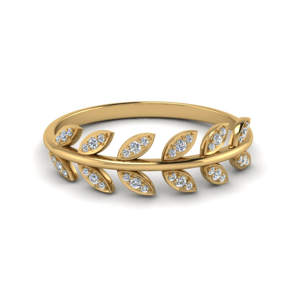 diamond leaf nature inspired wedding band in 14K yellow gold FD123035 NL YG