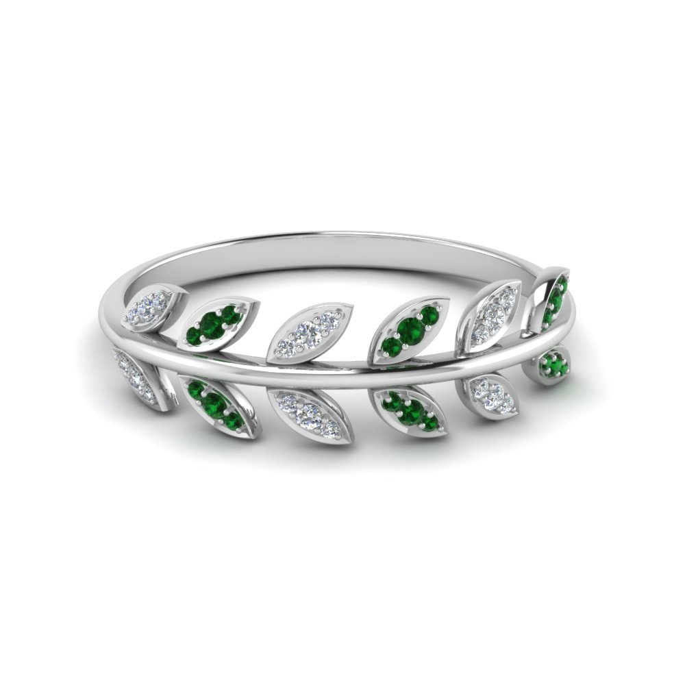 diamond leaf nature inspired wedding band with emerald in 14K white gold FD123035GEMGR NL WG
