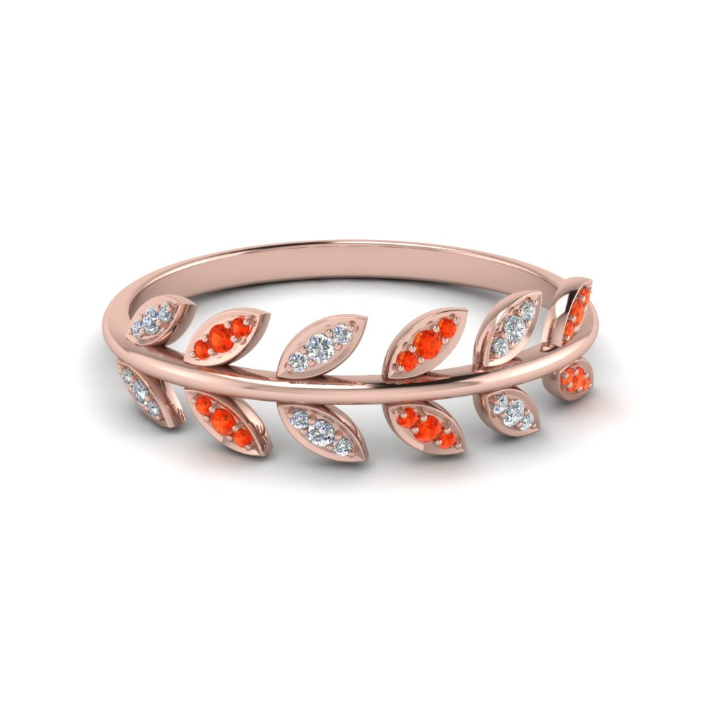 Leaves Wedding Band Orange Topaz