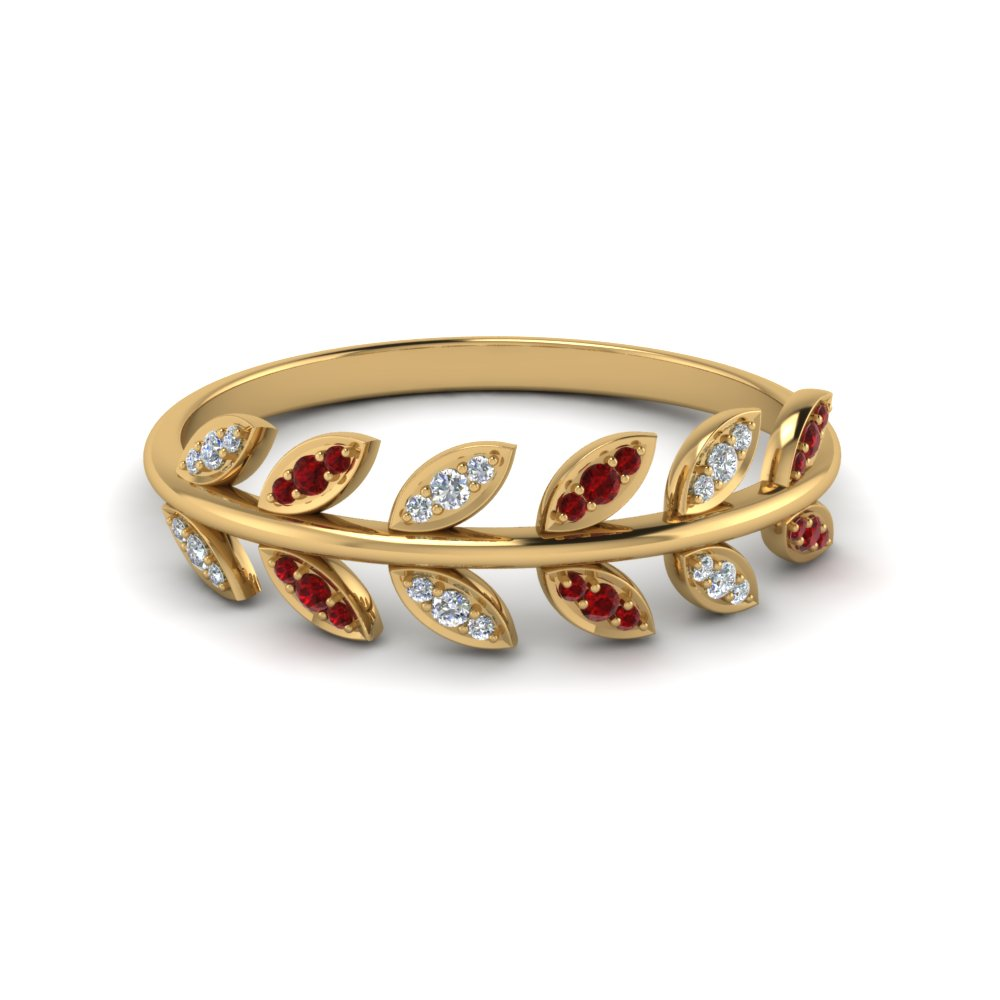Ruby Leaf Diamond Band