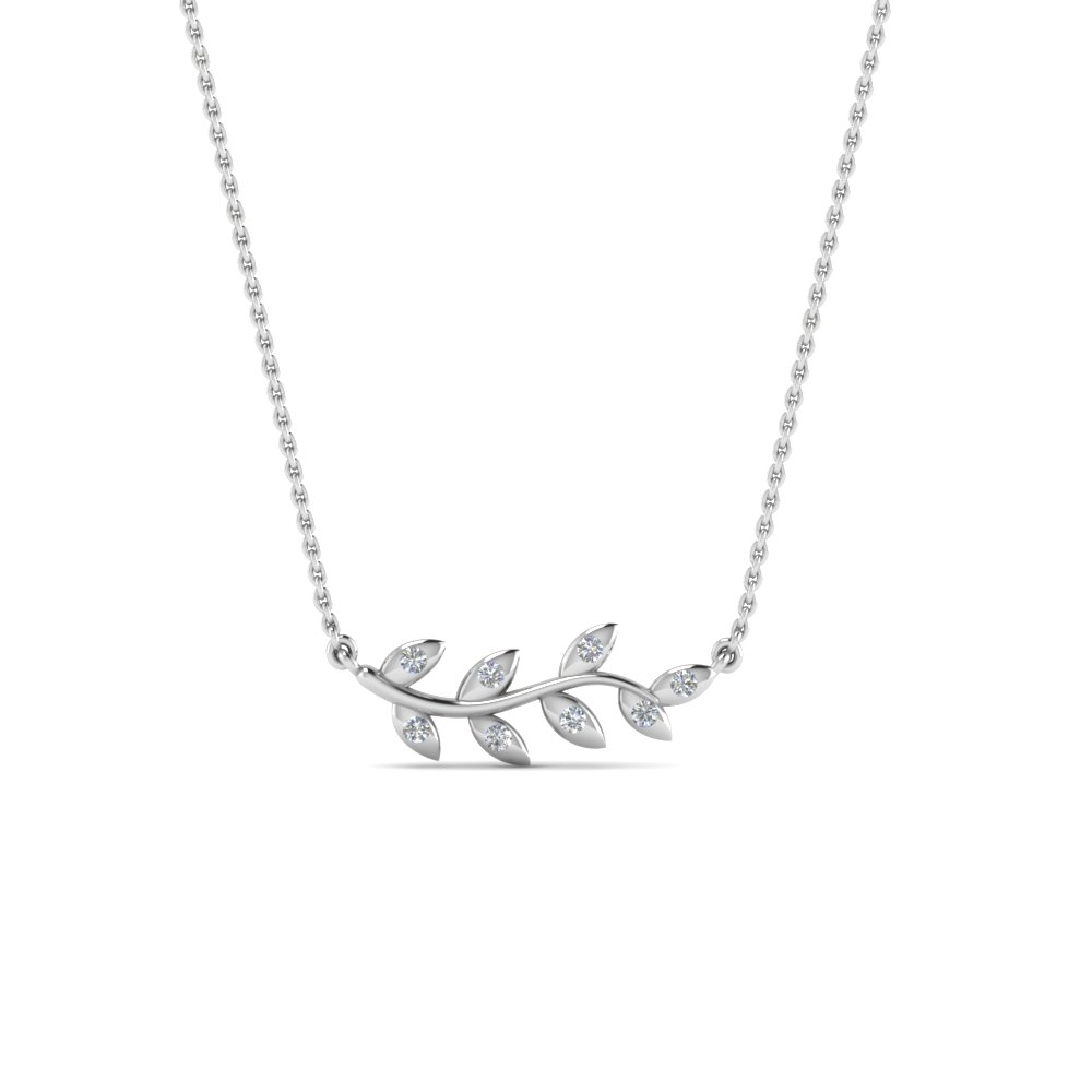 diamond leaf necklace gifts for her in FDPD8380ANGLE2 NL WG