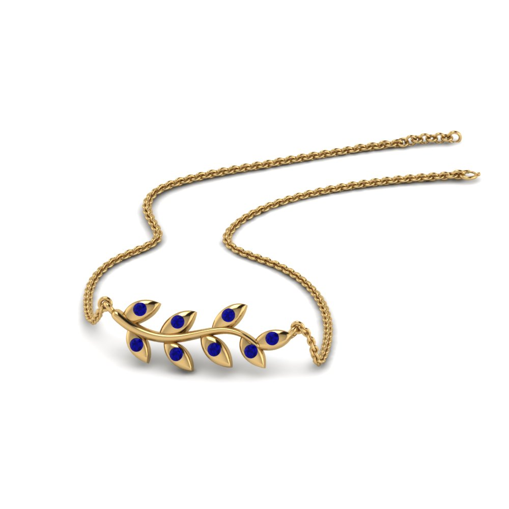 leaf pendant with blue sapphire in 14K yellow gold FDPD8380GSABL NL YG