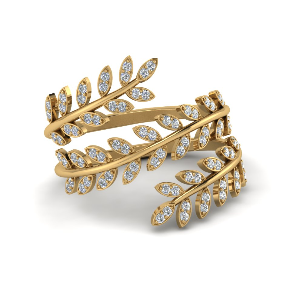 diamond leaf spiral ring in 14K yellow gold FD8385RNL YG