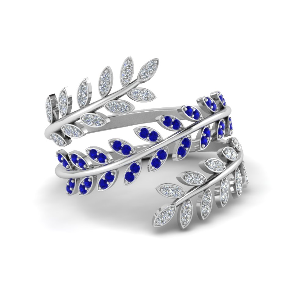 Diamond Leaf Spiral Ring With Blue Sapphire In 14K White Gold