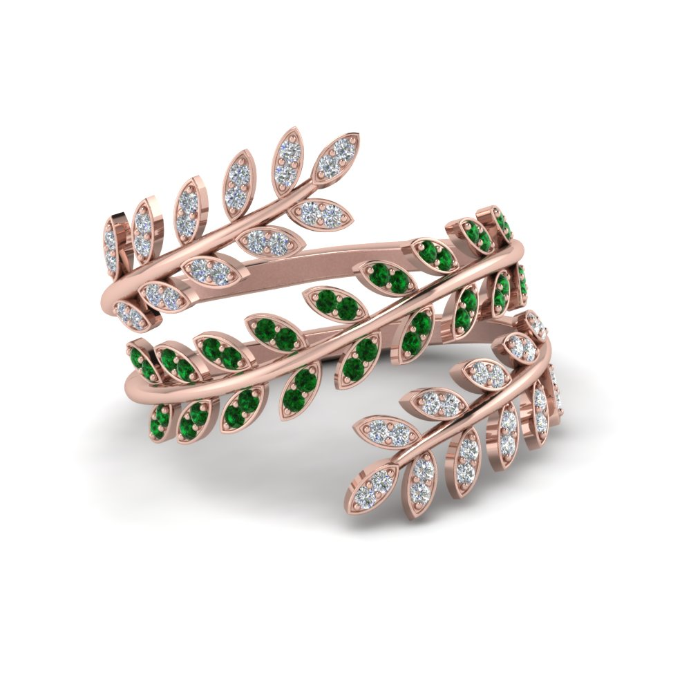 Diamond Leaf Spiral Ring With Emerald In 18K Rose Gold