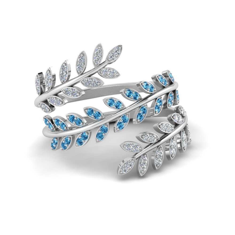 Diamond Leaf Spiral Ring With Ice Blue Topaz In 18K White Gold