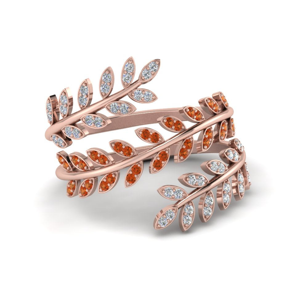 Diamond Leaf Spiral Ring With Orange Sapphire In 14K Rose Gold