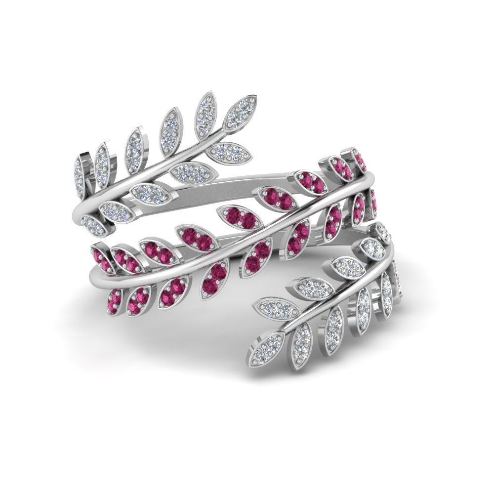 diamond leaf spiral ring with pink sapphire in 14K white gold FD8385RGSADRPI NL WG