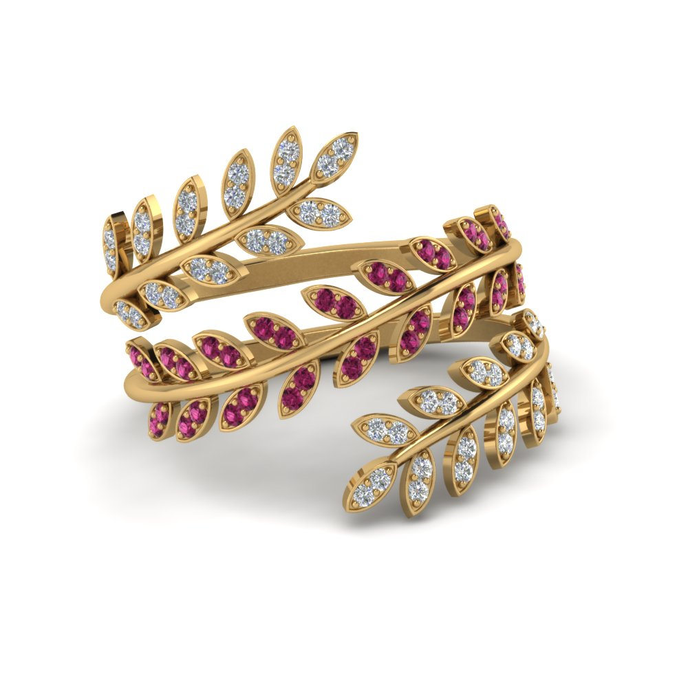 Diamond Leaf Spiral Ring With Pink Sapphire In 14K Yellow Gold