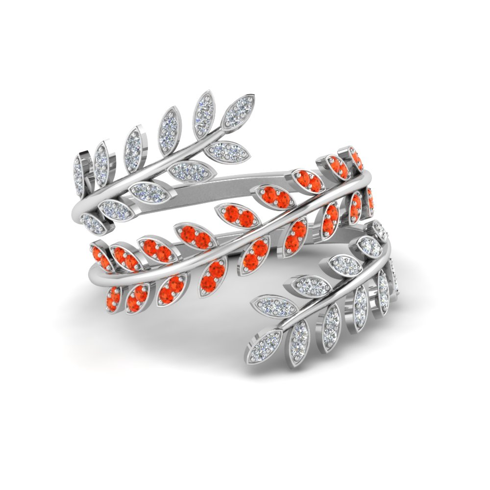 Diamond Leaf Spiral Ring With Poppy Topaz In 14K White Gold