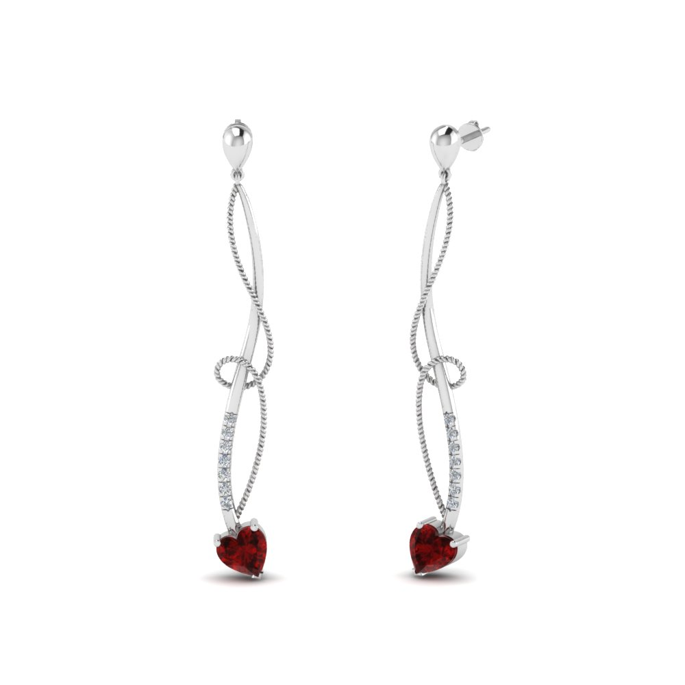 Ruby Heart Drop Earring