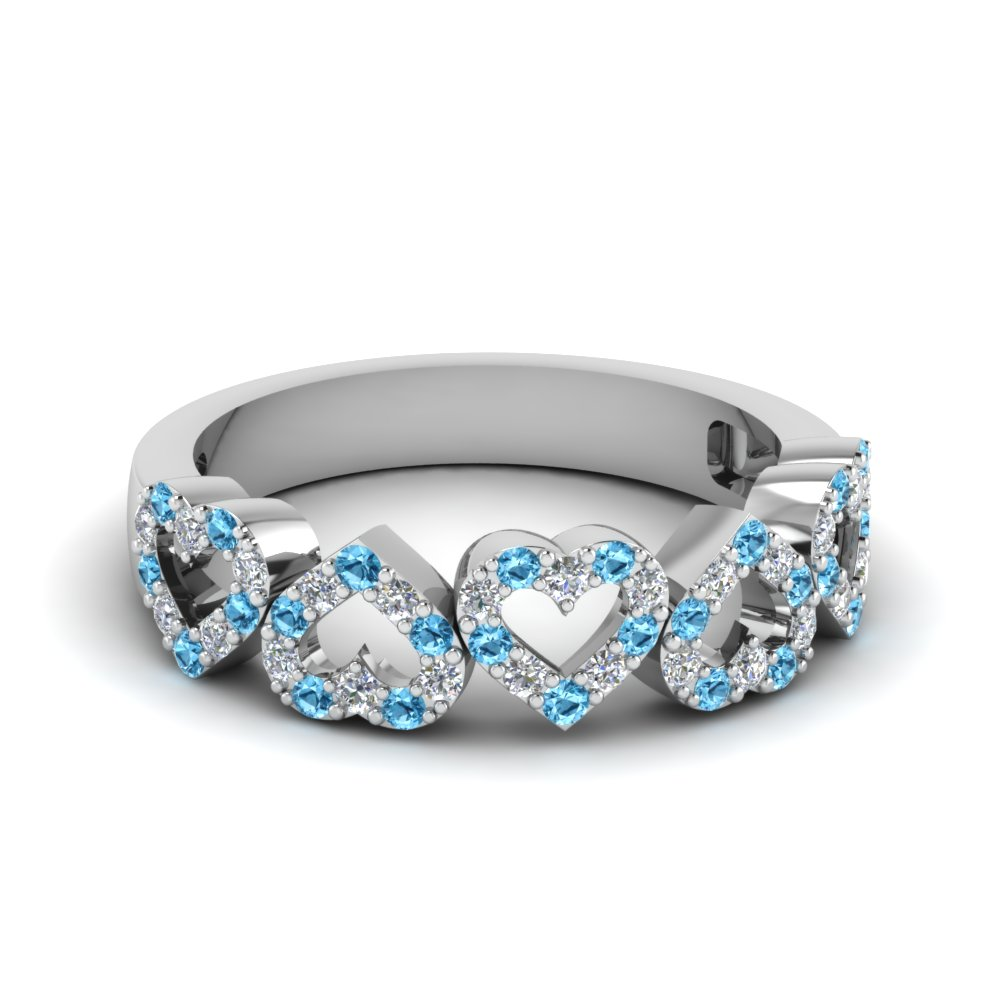 diamond open heart anniversary band with blue topaz in FD1145BGICBLTO NL WG