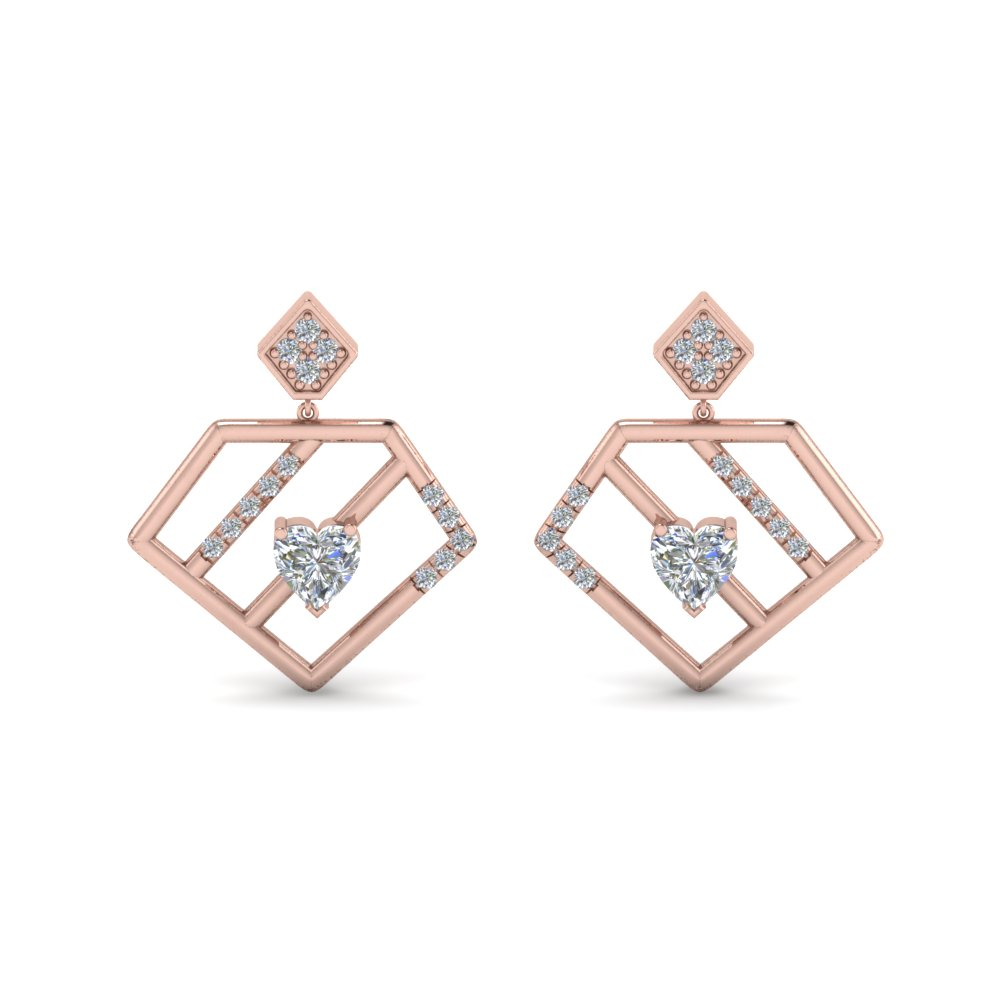 Diamond Pentagon Stud Drop Earring