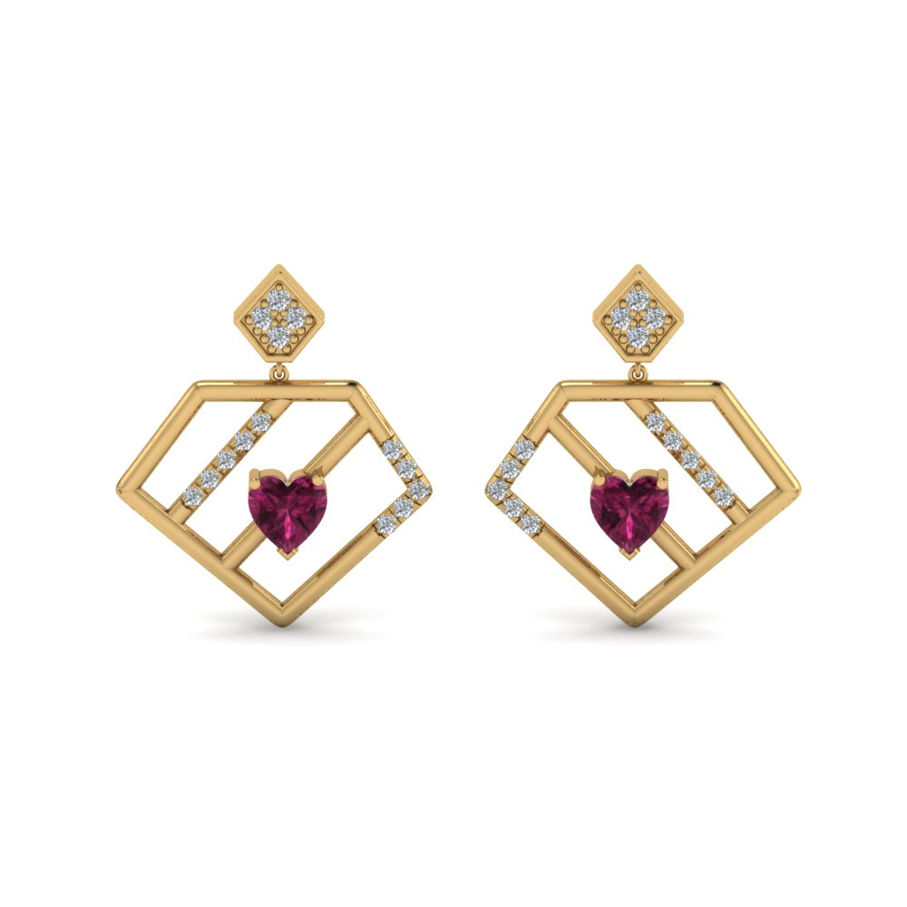 diamond pentagon drop earring with pink sapphire in 18K yellow gold FDEAR8830GSADRPI NL YG