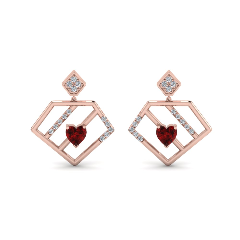 Pentagon Drop Earring With Ruby