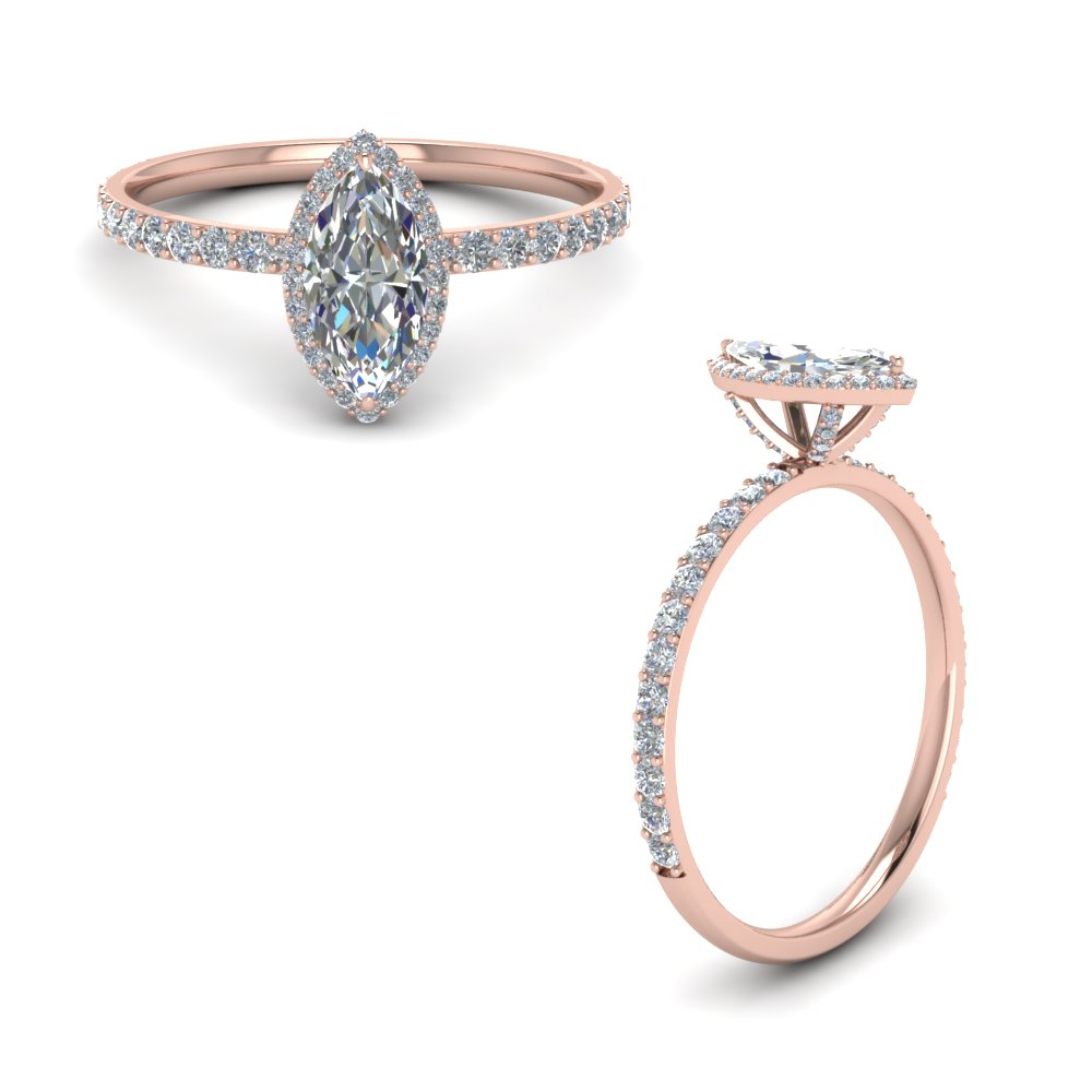 Marquise Shaped Petite Engagement Rings