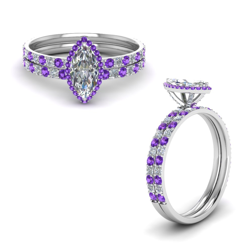 diamond prong marquise halo wedding set with violet topaz in FD8498MQGVITOANGLE1 NL WG