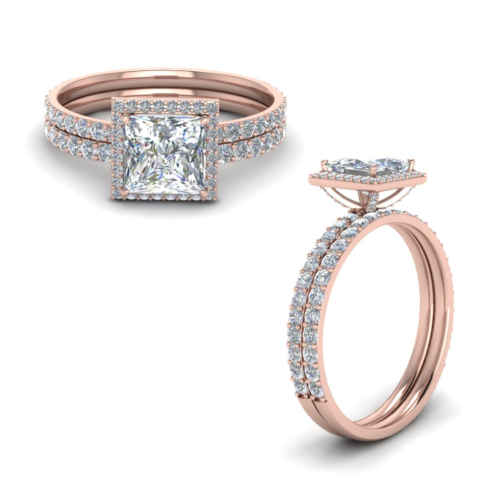 Princess Cut Halo Wedding Set