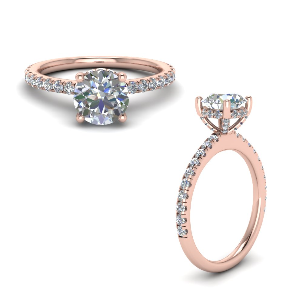 Diamond Prong Round Petite Engagement Ring In 14K Rose Gold