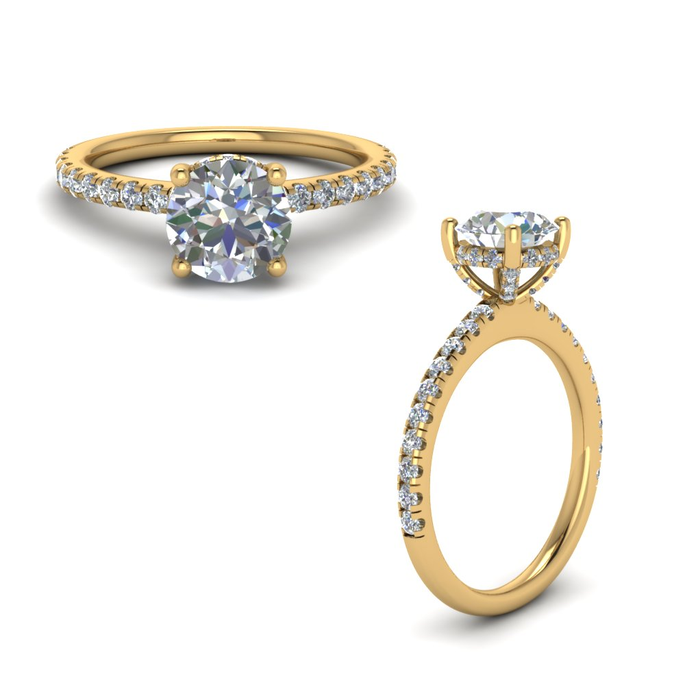 high set under halo diamond engagement ring in FD8523RORANGLE1 NL YG GS