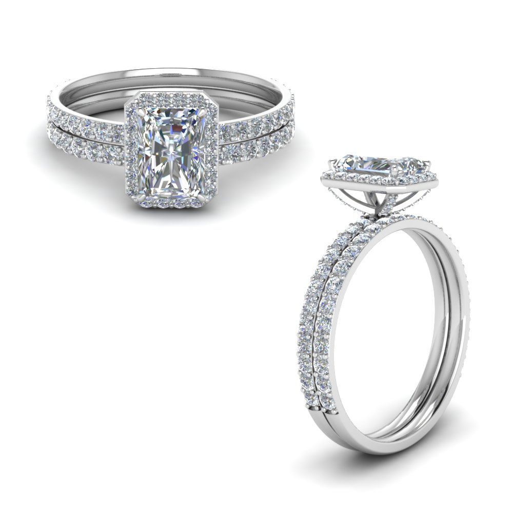 diamond radiant cut halo bridal set in FD8503RAANGLE1 NL WG