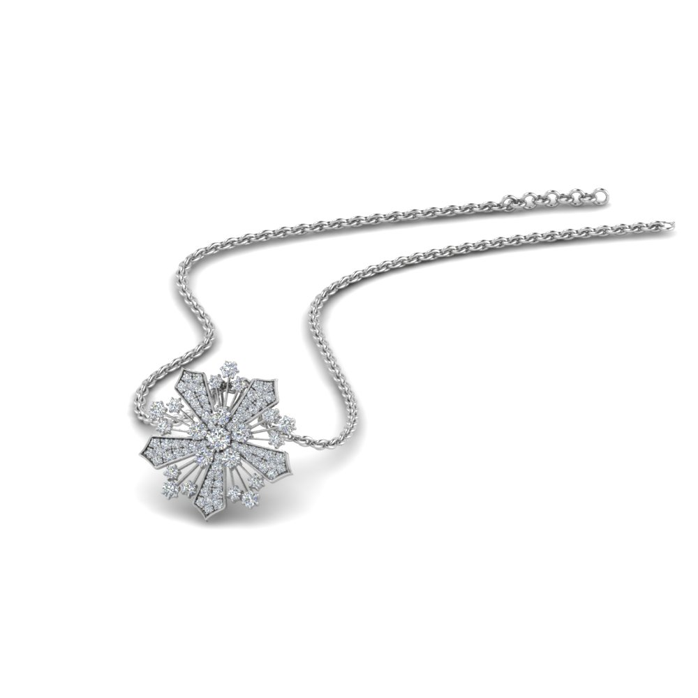 diamond snowflake pendant necklace in FDPD8458 NL WG