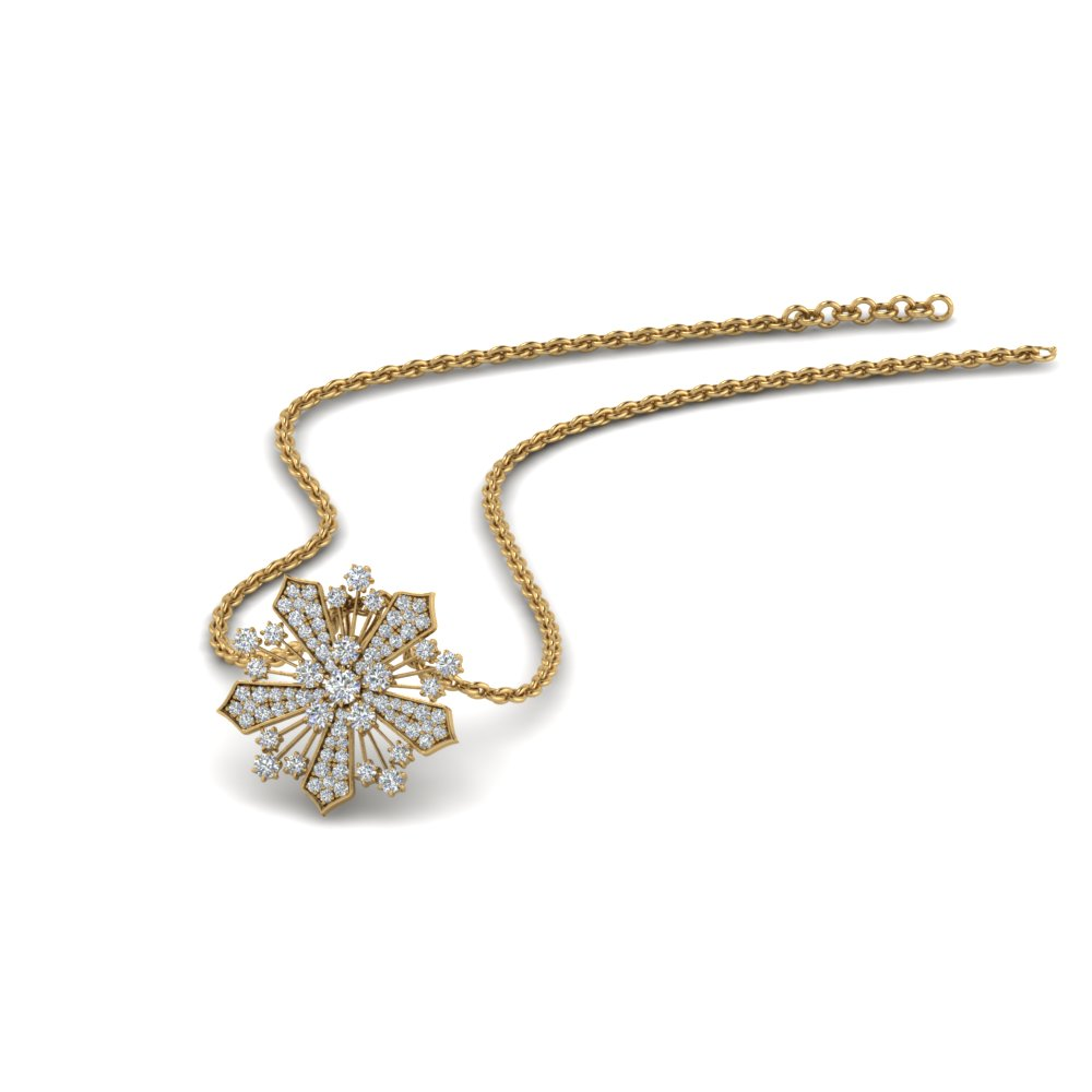 diamond snowflake pendant necklace in FDPD8458 NL YG