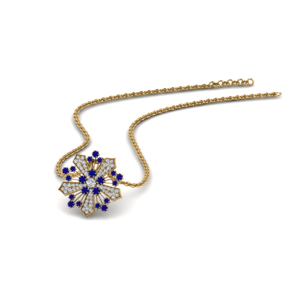 diamond snowflake pendant necklace with blue sapphire in FDPD8458GSABL NL YG