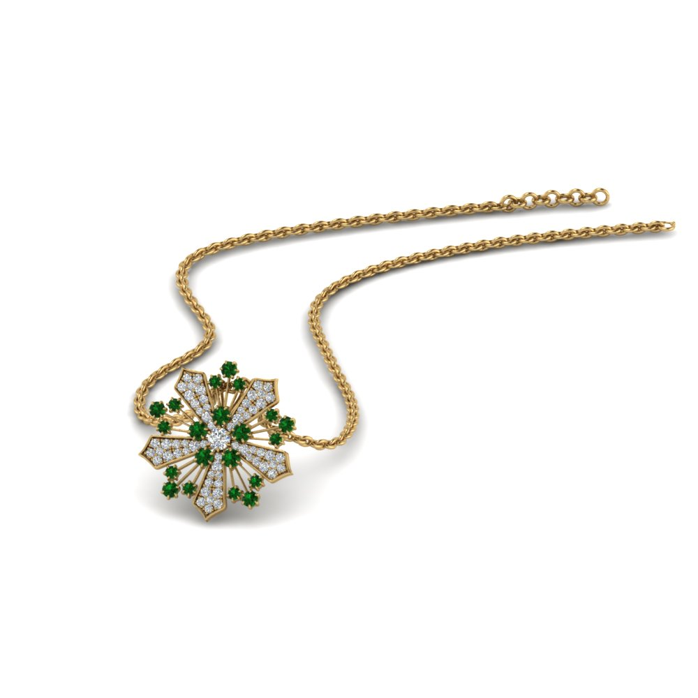 diamond snowflake pendant necklace with emerald in FDPD8458GEMGR NL YG