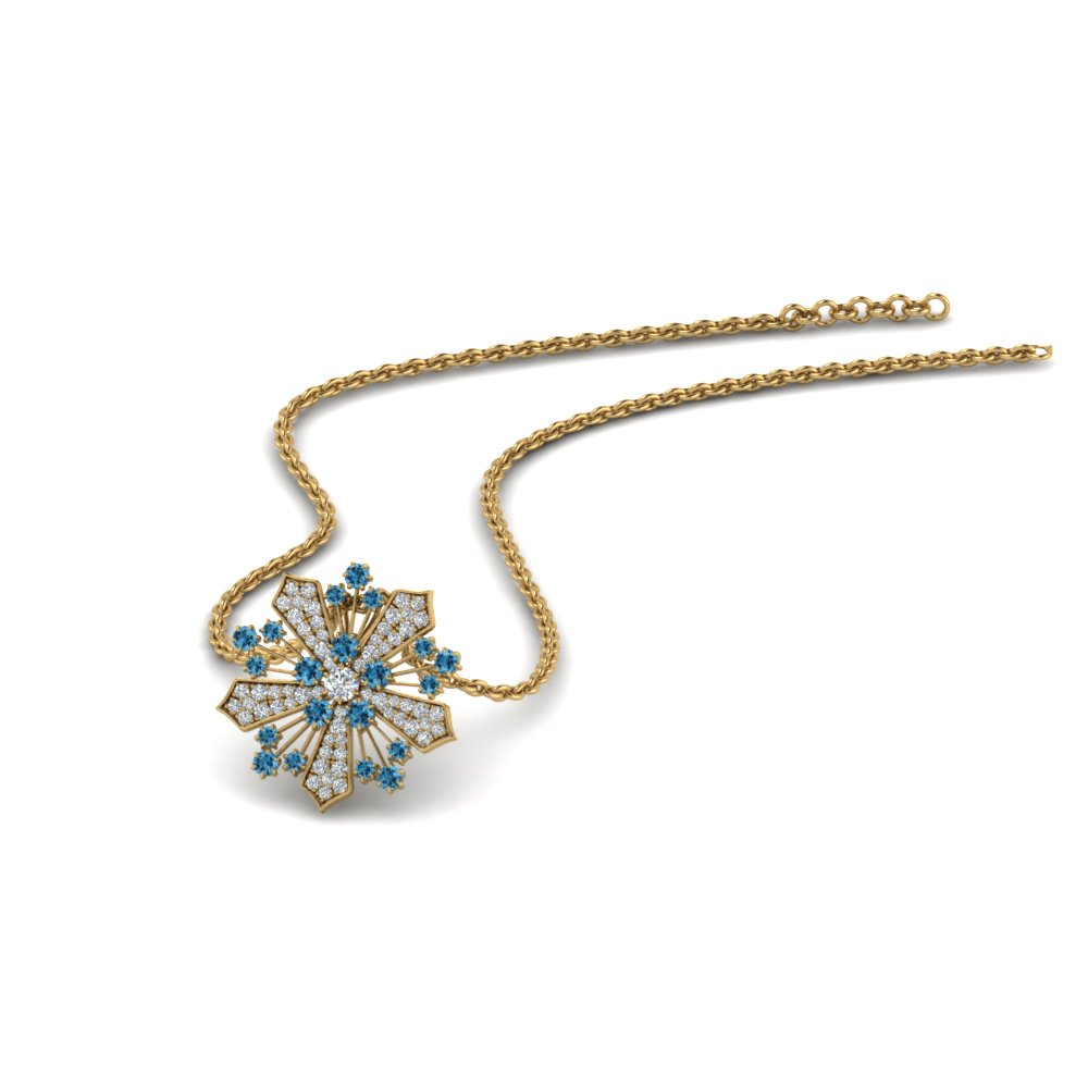 diamond snowflake pendant necklace with blue topaz in FDPD8458GICBLTO NL YG