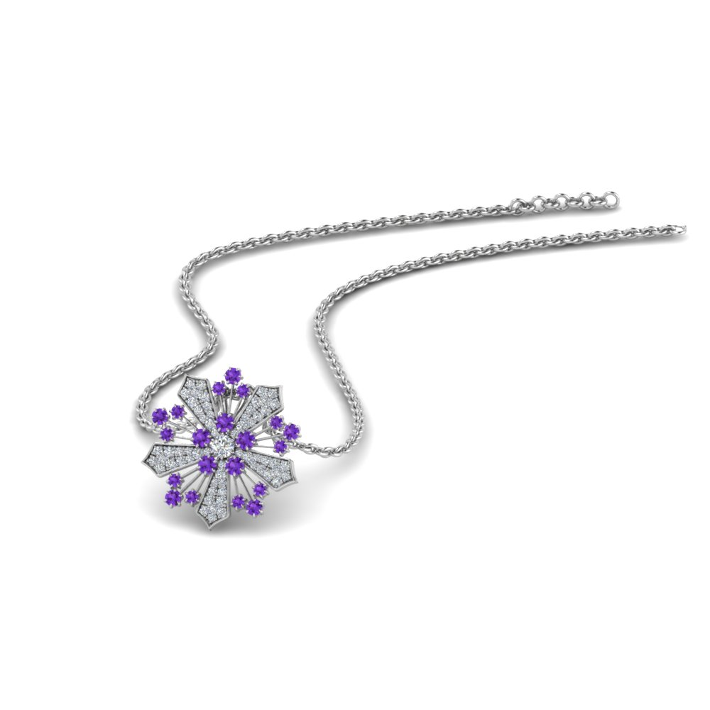 Purple Topaz Snowflake Necklace