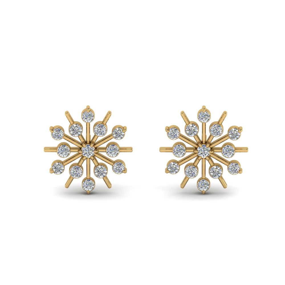 Diamond Snowflake Stud Earring In 14k Yellow Gold Fdear8473 Angle1 Nl Yg