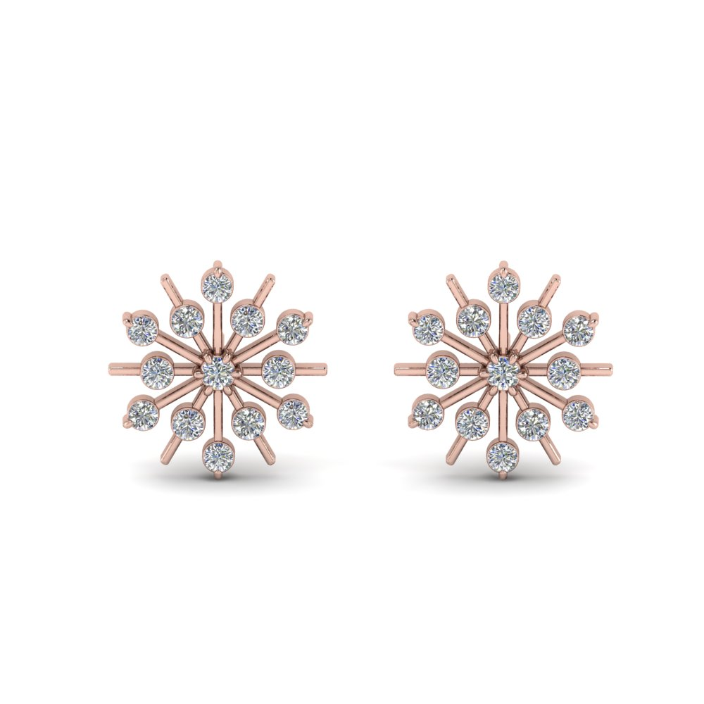 Diamond Snowflake Stud Earring In 18k Rose Gold Fdear8473 Angle1 Nl Rg