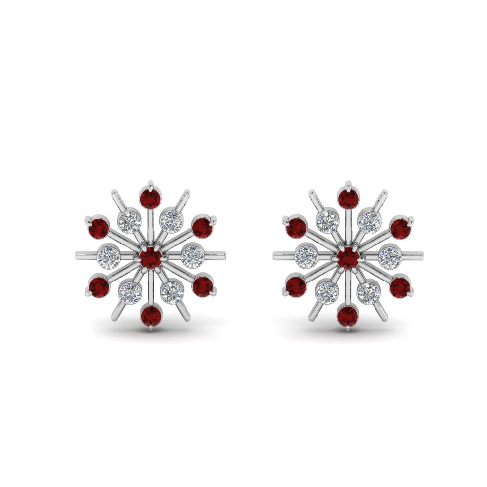 diamond snowflake stud earring with ruby in FDEAR8473GRUDRANGLE1 NL WG