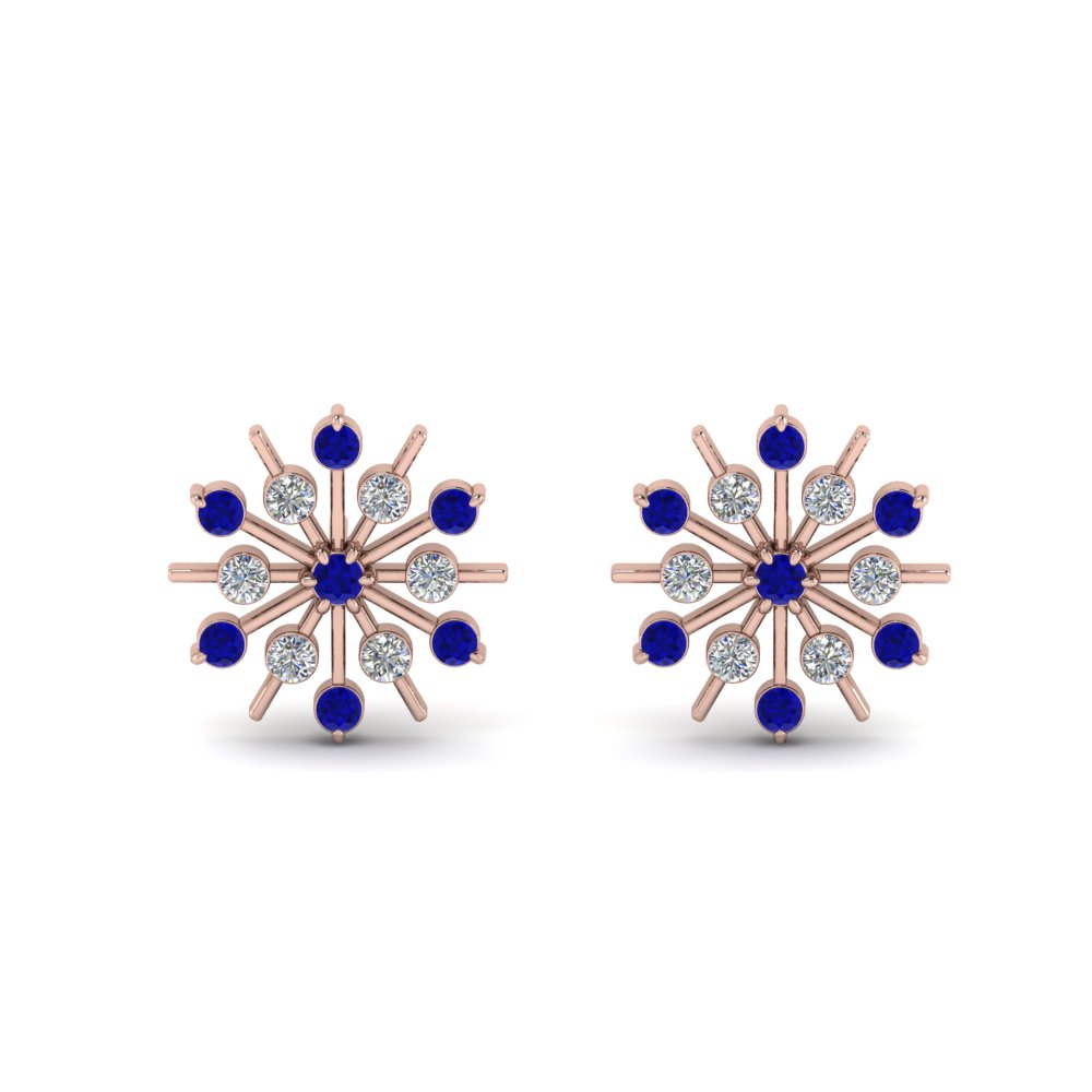 diamond snowflake stud earring with sapphire in FDEAR8473GSABLANGLE1 NL RG