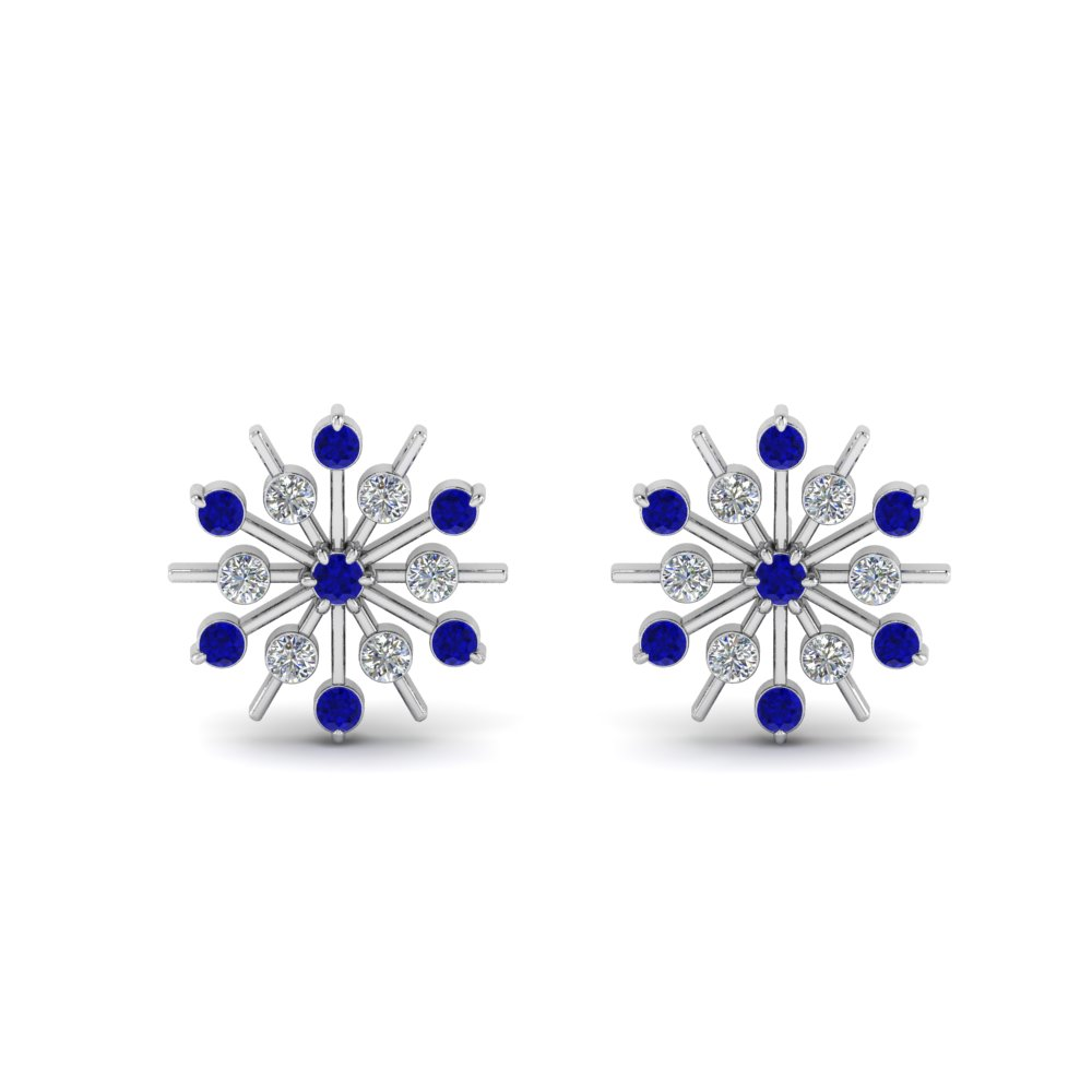 1866ad23d diamond snowflake stud earring with sapphire in FDEAR8473GSABLANGLE1 NL WG