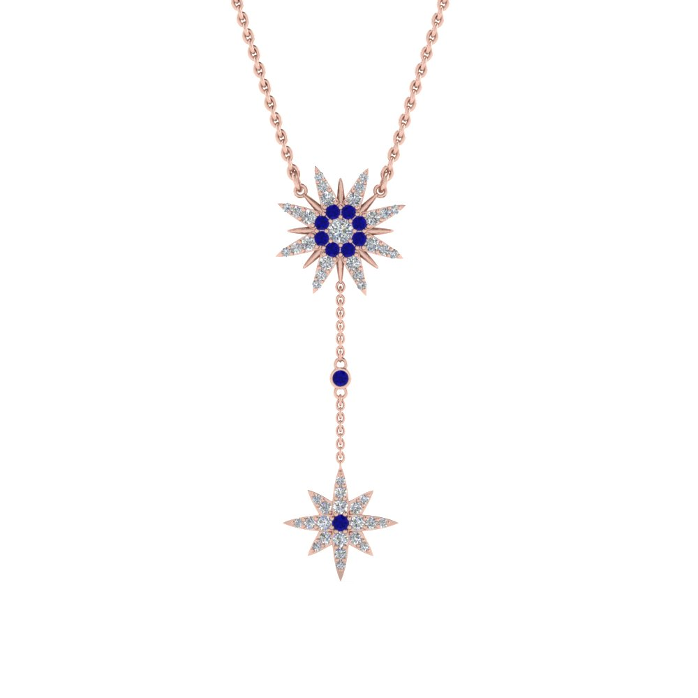 diamond star drop necklace with blue sapphire in FDPD8409GSABLANGLE2 NL RG