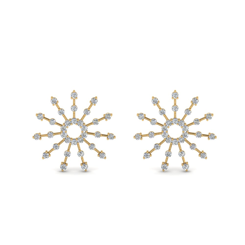 diamond stud circle earring in 14K yellow gold FDEAR8867 NL YG